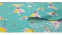 Cotton Fairy Clouds Rainbow fabric - Children's cotton fabric with pictures of fairies with a magic wand on a light background of clouds with rainbows, colorful stars... The fabric is 150cm wide and its composition is 100% cotton.