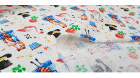 Cotton Alice's Tale Objects fabric - Children's cotton fabric with characters and objects that remind us of the story of Alice in Wonderland. The fabric is 140cm wide and its composition is 100% cotton.