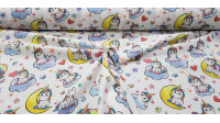 Cotton Unicorns Music fabric - Cotton fabric for children with pictures of unicorns listening to music on a white background with colorful musical notes, hearts, butterflies... The fabric is 150cm wide and its composition is 100% cotton.