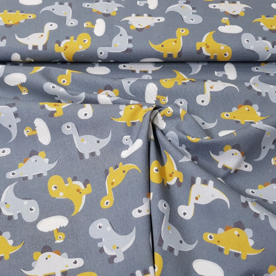 Cotton Dinosaurs Toy Gray fabric - Cotton fabric with drawings of toy dinosaurs on a gray background. The fabric is 150cm wide and its composition is 100% cotton.
