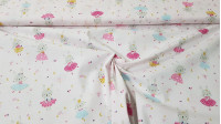 Cotton Bunny Ballerinas fabric - Children's cotton fabric with drawings of dancing bunnies on a white background with small moons, hearts, stars... The fabric is 150cm wide and its composition is 100% cotton.