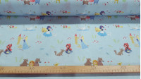 Cotton Childrens Tales Blue fabric - Poplin-type cotton fabric with drawings of classic children's stories such as Little Red Riding Hood, Rapuntzel, Snow White... on a light blue background. Nationally manufactured fabric. The fabric is 150cm wide