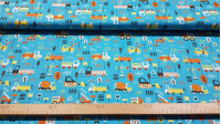 Cotton Transport Orange Yellow fabric - Cotton fabric with drawings of transport, cars, trucks, cranes in orange and yellow tones on a blue background. The fabric is 150cm wide and its composition is 100% cotton.