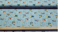 Cotton Construction Vehicles Blue fabric - Children's cotton fabric with drawings of construction vehicles, signs and construction cones on a blue background. The fabric is 150cm wide and its composition is 100% cotton.