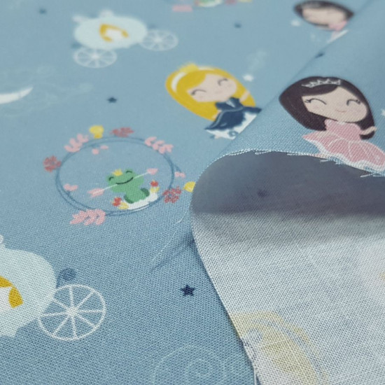Cotton Princesses Fabby Tales fabric - Organic cotton fabric (GOTS) with children's drawings of princesses from classic stories and decorative elements that remind us of those tales such as the rose from Beauty and the Beast, Cinderella's carriage ... The