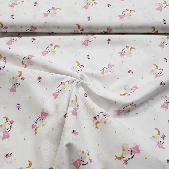 Cotton Mice Balloons Moons fabric - Children's cotton fabric with drawings of mice with balloons in the shape of moons and stars in pink and ocher tones on a white background. The fabric is 150cm wide and its composition is 100% cotton.