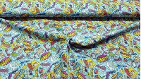 Cotton Comic Style Blue fabric - Cotton fabric with onomatopoeia drawings written in striking comic-style speech bubbles, on a blue background. The fabric is 150cm wide and its composition is 100% cotton.