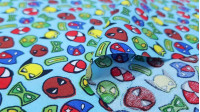 Cotton Superhero Masks fabric - Poplin cotton fabric with drawings of superheroes masks on various backgrounds to choose from. The fabric is 140cm wide and its composition is 100% cotton.