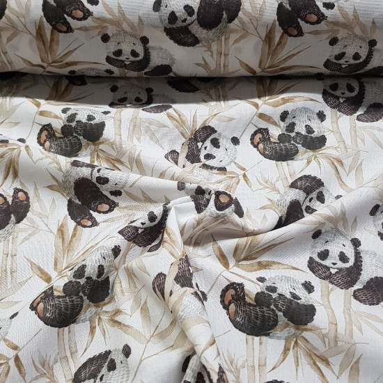 Cotton Pandas Bamboo Beige fabric - Cotton poplin fabric with a children's theme with drawings of panda bears on a background of bamboo canes in beige. The fabric is 150cm wide and its composition is 100% cotton.