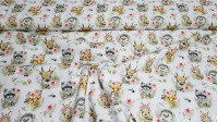 Cotton Animals Floral fabric - Poplin cotton fabric with very sweet drawings of animals decorated with flowers on a white background. The fabric is 150cm wide and its composition is 100% cotton.
