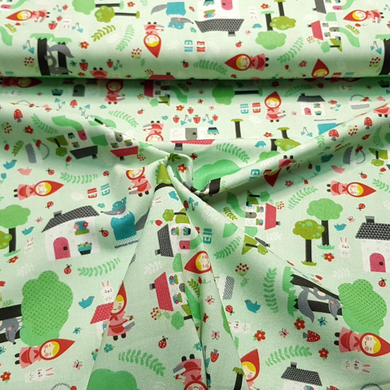 Cotton Little Wolf Riding Hood fabric - Poplin cotton fabric with children's drawings recreating the tale of Little Red Riding Hood in the forest. The fabric is 150cm wide and its composition is 100% cotton.