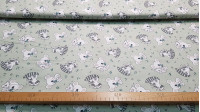 Cotton Koalas Raccoons fabric - Children's cotton poplin fabric with drawings of koalas and raccoons on a light background. The fabric is 150cm wide and its composition is 100% cotton.