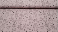 Cotton Washed Animals Drawings Dusty Pink fabric - Lightly wrinkled, washed effect kids' cotton fabric with drawings of animals and stars in black lines on a dusty pink background. The fabric is 135cm wide and its composition is 100% cotton.