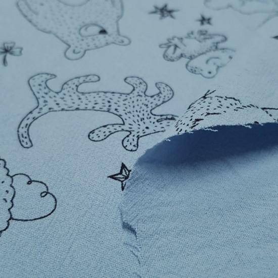 Tela Algodón Lavado Animales Dibujos Azul Empolvado - Tela de algodón infantil efecto lavado y levemente arrugado con dibujos de animales en trazos negros sobre un fondo azul empolvado. La tela mide 135cm de ancho y su composición 100% algodón.
