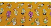 Tela Algodón Picapiedra Círculos - Tela de algodón ancho americano con dibujos de los personajes de los Picapiedra, donde aparecen Pablo, Pedro, Vilma, Betty, Pebbles, Bam-Bam y Dino sobre un fondo de color naranja. La tela mide 110cm de ancho y su co