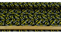 Cotton Batman Logo Shadow fabric - Cotton fabric with drawings of logos of the superhero Batman and shades in gray on a black background. The fabric is 110cm wide and its composition is 100% cotton.