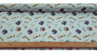 Cotton Harry Potter Objects Cauldrons fabric - Cotton fabric with drawings of objects from the famous Harry Potter saga, where scarves, glasses, cauldrons, magic books... appear on a light blue background. The fabric is 110cm wide and its composition is 1