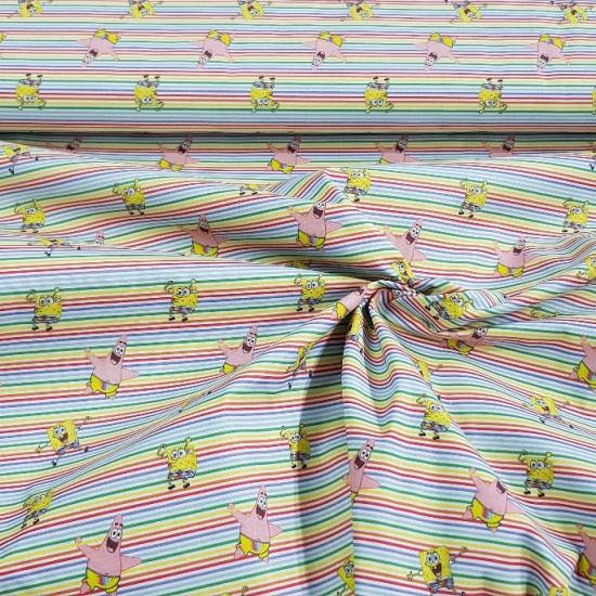Tela Algodón Bob Esponja Multi-rayas - Tela de algodón con dibujos del personaje de dibujos animadosBob Esponja y Patricio sobre unfondo de rayas finas multicolor. La tela mide 150cm de ancho y su composición 100% algodón
