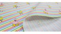 Cotton Sponge Bob Multi-stripes fabric - Cotton fabric with drawings of the cartoon character SpongeBob and Patrick Star on a background of fine multicolored stripes. The fabric is 150cm wide and its composition 100% cotton