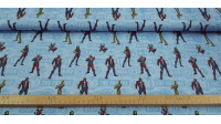 Cotton Marvel Guardians of the Galaxy Standing fabric - Cotton fabric with drawings of the Marvel Guardians of the Galaxy characters, where Star-Lord, Groot, Gamora, Drax and Rocket Racoon appear posing standing on a blue background with logos and phrases