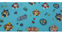 Cotton Paw Patrol Turquoise fabric - Licensed cotton fabric with drawings of the Paw Patrol characters on a turquoise background. The fabric is 140cm wide and its composition is 100% cotton.