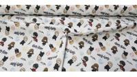 Tela Algodón Harry Potter Mini - Tela de algodón licencia con dibujos de caricaturas en miniatura de los personajes de la saga Harry Potter. La tela mide entre 140-150cm de ancho y su composición 100% algodón.