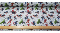 Cotton Marvel Avengers Characters fabric - Marvel licensed cotton fabric with drawings of the Avengers characters on a gray background with the avatars of the heroes. The characters Hulk, Thor, Black Widow, Captain America, Ironman appear… The fabric meas