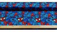 Tela Algodón Marvel Spiderman Espejos - Tela de algodón licencia ancho americano con dibujos del personaje Spiderman en tonos azules haciendo efecto espejo. La tela mide 110cm de ancho y su composición 100% algodón.