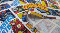 Cotton Justice League Comic fabric - Licensed cotton fabric with drawings of comic strips with the characters of the Justice League from DC Comics. The fabric measures between 140-150cm wide and its composition is 100% cotton.