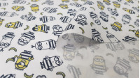Cotton Minions Thieves fabric - Licensed cotton fabric with drawings of the Minions characters disguised as thieves with the clothing in black and white stripes. The fabric is 150cm wide and its composition is 100% cotton.