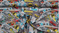Cotton Batman Comic Gray fabric - Licensed cotton fabric with comic book drawings where Batman cartoon drawings and cutouts appear, where the color gray predominates. The fabric is 110cm wide and its composition is 100% cotton.