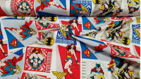 Cotton Heroines DC Comic fabric - License cotton fabric with comic cartoon style drawings with DC Comics superheroines (Wonder Woman, Supergirl, Catwoman) The fabric is 110cm wide and its composition is 100% cotton.