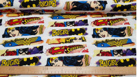 Cotton Heroines DC Comic Logos fabric - Licensed cotton fabric with drawings of DC comics superheroines and Wonder Woman, Catgirl and Supergirl logos. The fabric is 110cm wide and its composition is 100% cotton.