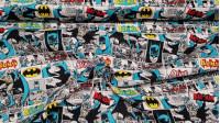 Tela Algodón Batman Cómic Blanco - Tela de algodón licencia ancho americano con dibujos de viñetas de cómic donde aparece el personaje Batman donde predomina el fondo de color blanco. La tela mide 110cm de ancho y su composici&oac