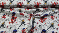 Cotton Ladybug Cat Noir fabric - Licensed cotton fabric with drawings of the characters Ladybug and Cat Noir with their kwamis Tikki and Plagg on a gray and white background. The fabric is 140cm wide and its composition is 100% cotton.