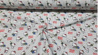 Cotton Hello Kitty Tennis Dots fabric - Beautiful licensed cotton fabric with drawings of Hello Kitty the cat with tennis rackets on a white background with black polka dots. The fabric is 150cm wide and its composition is 100% cotton.