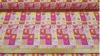 Cotton Peppa Pig Spring Squares fabric - Licensed cotton fabric with drawings of Peppa Pig in squares where flowers, butterflies, polka dots, hearts ... The fabric is 150cm wide and its composition is 100% cotton.