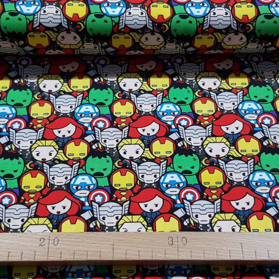 Cotton Marvel Avengers Kawaii fabric - Licensed cotton fabric with drawings in Kawaii style of the Avengers characters, forming a fun collage. The fabric is 110cm wide and its composition is 100% cotton.