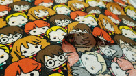 Cotton Harry Potter Kawaii Characters Together fabric - Cotton licensed fabric with drawings of the characters of the Harry Potter saga in Kawaii style very close together forming a fun image. The fabric is 110cm wide and its composition is 100% cotton.