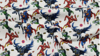 Cotton Justice League Characters Logos fabric - Licensed cotton fabric with drawings of the Justice League characters on a white background with small logos of the heroes. The fabric is 140cm wide and its composition is 100% cotton.