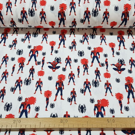 Cotton Marvel Spiderman Spiders fabric - Licensed cotton fabric with drawings of Spiderman making poses on a white background with black and red spiders. The fabric is 150cm wide and its composition is 100% cotton.