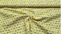Cotton Spongebob Emoticons fabric - Licensed cotton fabric with drawings of SpongeBob faces, emoticon style. The fabric measures between 140-150cm wide and its composition is 100% cotton.