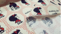 Cotton Mafalda Polka Dots fabric - Licensed cotton fabric with drawings of the character Mafalda by the creator Quino, on an off-white background with circles and red polka dots. The fabric is 150cm wide and its composition is 100% cotton.