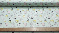 Cotton Looney Tunes fabric - Licensed cotton fabric with drawings of the characters of the Warner Looney Tunes, where the rabbit Bugs Bunny, Daffy Duck, Taz, Sylvester the cat, Porky... appear on a light green background. The fabric is 110cm wid