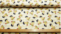 Cotton Frida Kahlo fabric - Licensed organic cotton fabric with Frida Kahlo drawings on a flowered background in light tones. The fabric is 150cm wide and its composition is 100% cotton.