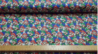 Cotton Super Mario Luigi Mosaic fabric - Licensed cotton fabric with drawings of the characters Mario and Luigi from the video game Super Mario forming a mosaic. The fabric is 110cm wide and its composition is 100% cotton.