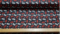 Cotton Star Wars Logos Red White fabric - Licensed cotton fabric with Star Wars logos in white and red colors on a black background. The fabric is 110cm wide and its composition is 100% cotton.
