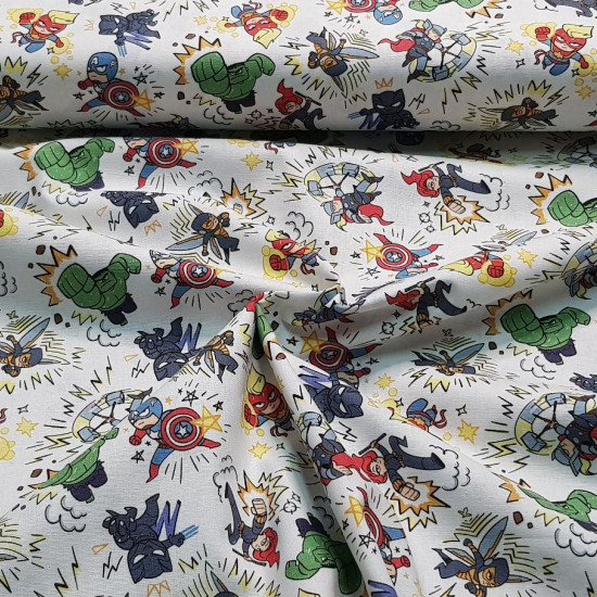 Cotton Marvel Kapow Superheroes fabric - Licensed cotton fabric with drawings of Marvel superheroes in their version of the video game Marvel Kapow! The fabric is 110cm wide and its composition is 100% cotton.