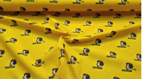 Cotton Mafalda Yellow fabric - Organic cotton fabric with drawings of the Mafalda character on a background with the name in a mustard yellow tone. The fabric is 150cm wide and its composition is 100% cotton.