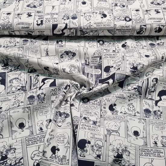 Cotton Mafalda Comic fabric - Licensed organic cotton poplin fabric (GOTS) with drawings of the Mafalda character in black and white comic strips. The fabric is 150cm wide and its composition is 100% cotton.
